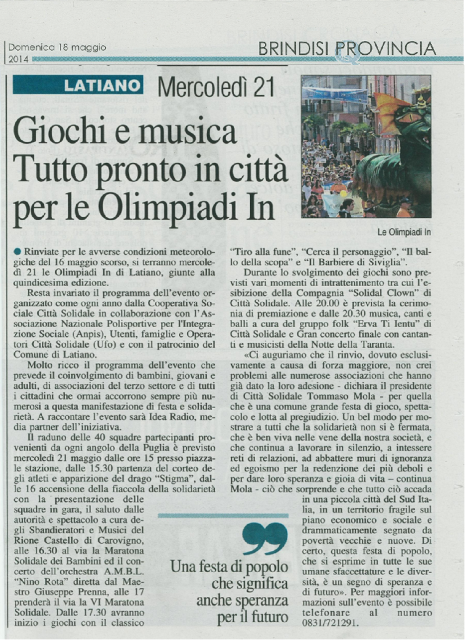 quotidiano 19-05-2014 olimpiadi in